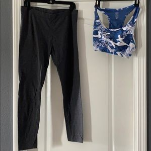 Old navy med support sports bra. Cotton leggings.